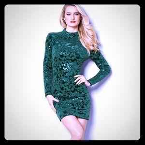 Velvet sequin bodycon party dress
